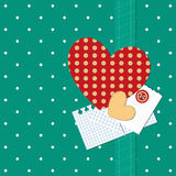 Scrap retro background with heart and polka dots. Royalty Free Stock Photography