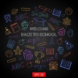 Scrap set Back to school on blackboard Royalty Free Stock Photo