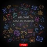 Scrap set Back to school on blackboard Royalty Free Stock Photo