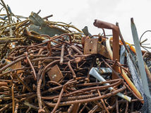 Scrap steel at a building demolition site Royalty Free Stock Image