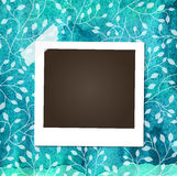 Scrap template with photo frame on blue watercolor. Background with beautiful floral pattern stock illustration