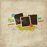 Scrap template with photo frames royalty free illustration