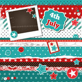 Scrap template for 4th of July. With photo frame Stock Photography