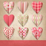 Scrap template of vintage design with hearts.  stock illustration