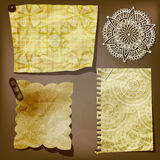 Scrap template of vintage paper. Pieces and lacy flower stock illustration
