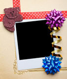 Scrap vintage blank photo frame with ribbons Stock Photography