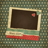 Scrap vintage card with photo frame. And hearts stock illustration