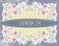 Scrap vintage frame on floral grange background Stock Photography