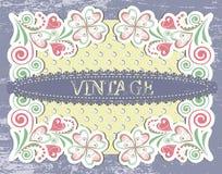 Scrap vintage frame on floral grange background vector illustration