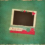 Scrap vintage love card with photo frame. And buttons vector illustration
