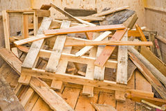 Scrap wood in a recycling skip. stock photography
