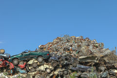 Scrap yard with crushed cars Royalty Free Stock Images