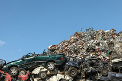 Scrap yard with crushed cars Royalty Free Stock Photos