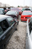 Scrap yard for old cars for scrap. Scrap yard for car recycling Royalty Free Stock Image