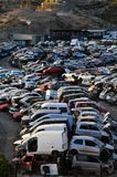 Old Junk Cars On Junkyard. Scrap Yard With Pile Of Crushed Cars in tenerife canary islands spain Stock Image