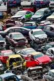 Old Junk Cars On Junkyard. Scrap Yard With Pile Of Crushed Cars in tenerife canary islands spain Stock Photos
