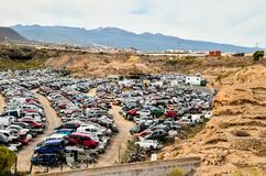 Old Junk Cars On Junkyard. Scrap Yard With Pile Of Crushed Cars in tenerife canary islands spain Stock Photography
