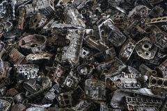 Scrap yard for recycle the engine and automotive parts. Engine junkyard. That old, cracked engine block. Metal recycling yard. Scr. Ap metal recycling yard stock image