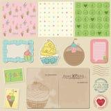 Элементы конструкции Scrapbook - сладостные десерты Стоковые Изображения