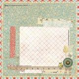 Флористический план Scrapbook с винтажными приукрашиваниями Стоковое Изображение