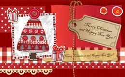 Поздравительная открытка рождества Scrapbook Стоковое Изображение RF