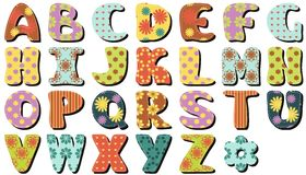 Scrapbook alphabet on white background. Different ornaments royalty free illustration