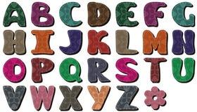 Scrapbook alphabet on white background. Scrapbook alphabet different ornaments on white background illustration stock illustration