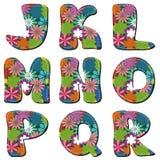 Scrapbook alphabet on white background. Scrapbook alphabet with flowers on white background stock illustration