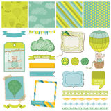 Scrapbook - Baby Bear with Airballoon Stock Image