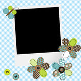 Scrapbook baby boy design with photo frame and patchwork flowers. And butterfly Royalty Free Stock Photo