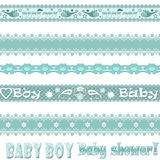 Scrapbook baby boy set with ornament Royalty Free Stock Photos
