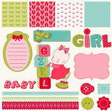 Scrapbook Baby Girl Set. Design elements Stock Images