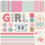 Scrapbook Baby Girl Set Stock Photography