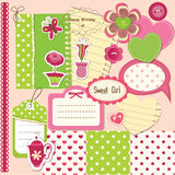 Scrapbook baby girl set Royalty Free Stock Photos