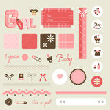 Scrapbook Baby Set - Girl Stock Image