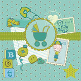 Scrapbook Baby shower Boy Set Royalty Free Stock Photography