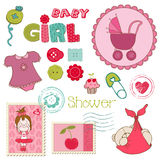 Scrapbook Baby shower Girl Set Stock Images