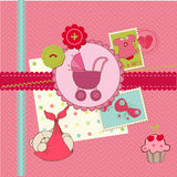 Scrapbook Baby shower Girl Set Royalty Free Stock Images
