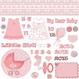 Scrapbook baby shower girl set Royalty Free Stock Photo