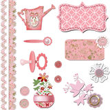 Scrapbook baby shower girl set design. Elements Stock Photography