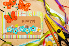Scrapbook. Background. Card and tools with decoration Royalty Free Stock Photos