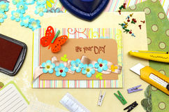 Scrapbook. Background. Card and tools with decoration Royalty Free Stock Photography