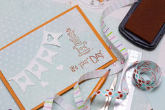 Scrapbook. Background. Card and tools with decoration Royalty Free Stock Images