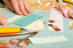 Scrapbook. Background. Card and tools with decoration Stock Photo