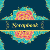 Scrapbook background with flowers. Vector Royalty Free Stock Photo