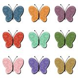 Scrapbook butterflies  on white background illustration Royalty Free Stock Images