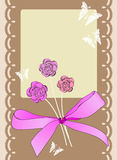 Scrapbook card. For holiday with butterfly, flowers and bow Royalty Free Stock Photography
