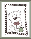 Scrapbook card with cute astonished teddy bear stock images