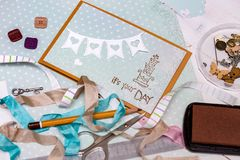 Scrapbook -  Card and tools. Scrapbook background. Card and tools with decoration Stock Images