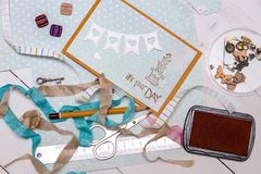 Scrapbook -  Card and tools. Scrapbook background. Card and tools with decoration Royalty Free Stock Photos